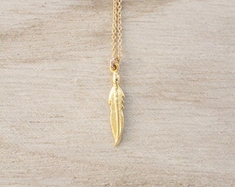 Gold feather necklace, feathers, feather necklace, dainty feather necklace