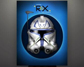 Star Wars Inspired Captain Rex Phase 2 Clone Trooper Helmet 11X14 Signed Fine Art Art Print by Herofied