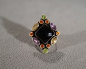 Vintage Sterling Silver Designer Signed Nicky Butler Band Ring 13 Round Marquise Square Onyx Fire Opal Amethyst Citrine Halo Design, Size 7