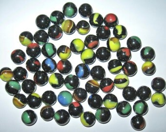 Lot of 63 Vintage Black Opaque Cat's Eye Glass Marbles from PA Estate