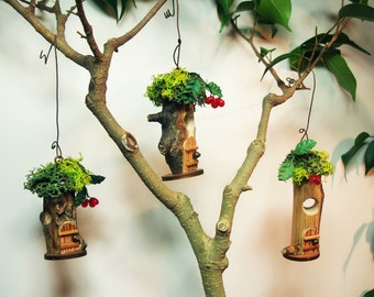 "Fairy House ornaments, set of 3 (#10);  1"" d.  Indoor, outdoor, Fairy Garden, Tree ornaments"