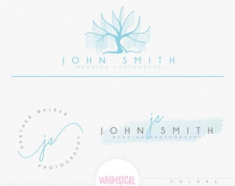 Willow Tree Logo 2-Premade Photography Logo and Watermark, Classic Elegant Script Font GOLD watercolor TREE children Calligraphy Logo