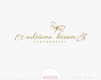 elegant drafgonfy logo -  Premade Photography Logo and Watermark, Classic Elegant Script Font gold glitter watercolor Calligraphy Logo