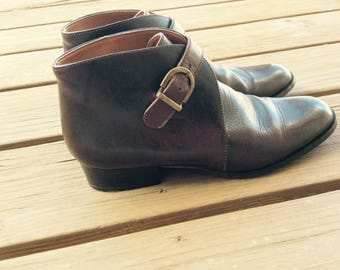 Vintage ankle boots flat leather size 7
