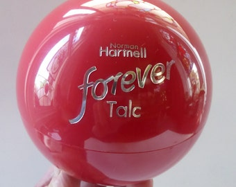 Space Age 1970s Vintage NORMAN HARTNELL FOREVER Dusting Powder in Plastic Globe. Sealed & Unused with Original Puff