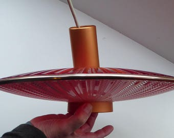 Quirky Early 1960s LUMEX Rippled Plastic Flying Saucer Lamp Shade. Twin Tones: Scarlet Red and Ice Clear with Copperised Central Unit