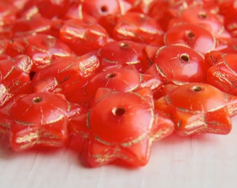 Clementine Stars - 6 x 12mm glossy warm orange 6 pointed star pressed glass beads with gold Picasso finish (10), uk beads