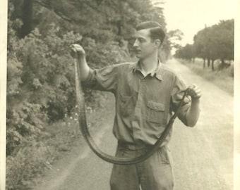 8 x 10 Vintage 1940's Photo of Man Holding Snake