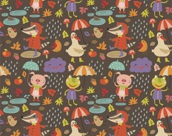Rainy Days on cotton lycra jersey knit fabric - UK seller