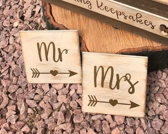 Wooden handmade Mr and Mrs coasters wedding gift present rustic shabby