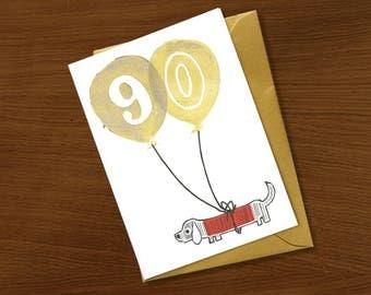 90th birthday card, birthday card 90 years, special celebration, gold ink, ninety years old, milestone birthday, dog cat animal lover