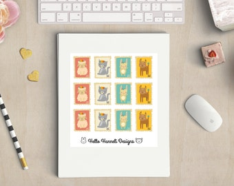 Cute animal postage stamp stickers