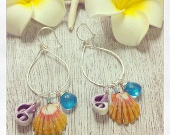 Sunrise Shell Earrings, Hawaii Sunrise Hoop Earrings, Hawaii Shell Earrings, Silver Shell Earrings