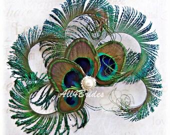Peacock feather hair clip, peacock wedding bridal hair clip,  Peacock feather fascinator.