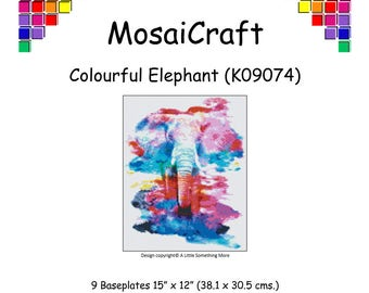 MosaiCraft Pixel Craft Mosaic Art Kit 'Colourful Elephant' (Like Mini Mosaic and Paint by Numbers)
