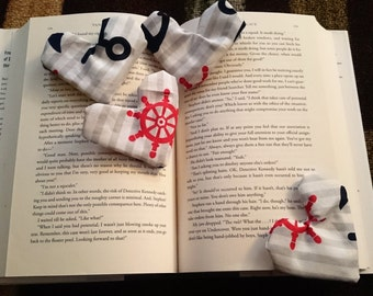 Anchor bookmark. Nautical Bookmark. Sailor Bookmark. Cloth. Fabric Bookmark. Teacher gift. Valentine Gift. Bookmark set. Readers gift.
