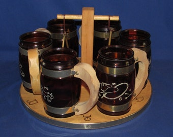 SIESTA WARE SET Western Mugs Wooden Rack and Triangle Cowboy