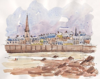 Saint Malo original ink and watercolor original painting Bretagne France Brittany art Brittany painting french original decor wall home art