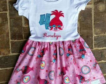 Girl's Pink Poppy the Troll Dress with Embroidered Name and Birthday Number or Flower