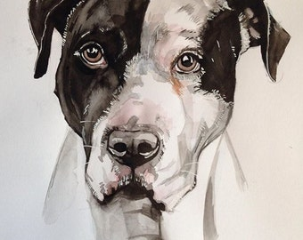 PERSONALIZED 16x20 dog portrait; (photos are examples) original watercolor painting on paper