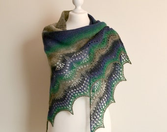 Hand knitted lace shawl multicolor wool triangular wrap handmade