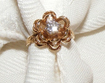 14k Yellow Gold Flower Ring with Diamond Center