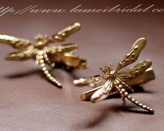 Gold dragonfly Bobby Pins, Bridal Bobby Pins Gold Dragonfly Hair Nature Garden Lover Rustic Woodland Wedding Accessories,Womens Gift For Her