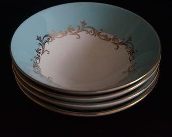 Vintage, Set of Four Lifetime China Co. Semi Vitreous Gold Crown Fruit Bowls