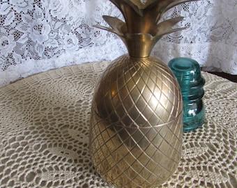 "Brass Pineapple Candle Holder-Brass Trinket Box 8""."