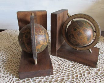 Old World Spinning Globe Bookends.