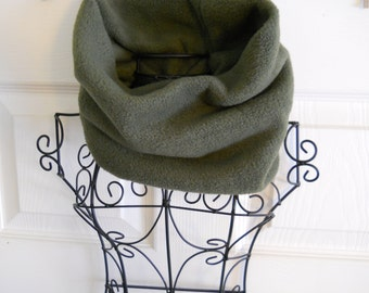 Dark Green Fleece Gaiter /  Army Green Fleece Neck Warmer / Cozy Cowl