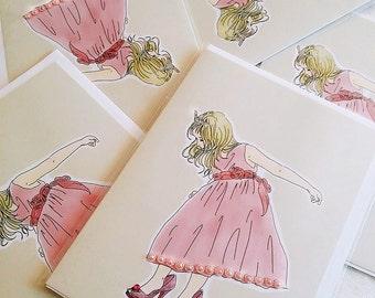 Cute Little Girl Princess Pink dress Greeting Card (5x7 size) mommy's stiletto, christian louboutin heels, pink dress, blonde girl