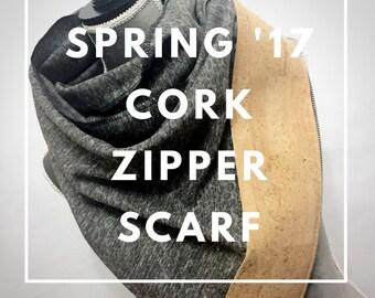 Cork Zipper Scarf, zip it, wrap it, loop it, love it™, Multi wear scarf, wrap, infinity, cowl