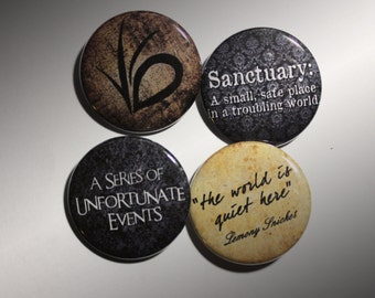"A Series of Unfortunate Events 1.5"" Button or Magnet 4 Pack"
