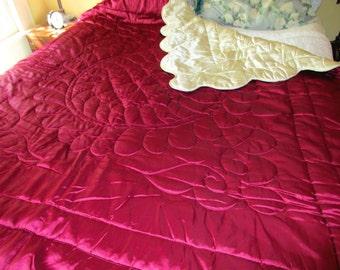 Vintage Hollywood Glam Liquid Satin Quilt Wine & White Comforter Blanket Throw