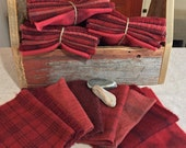 Geranium Red, Hand-Dyed Wool Fabric for Rug Hooking, Applique, Penny Rugs, Quilting, 8 - One Sixteenth Yard Pieces W258