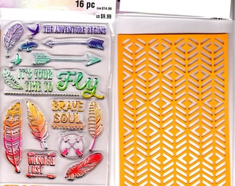 "Recollections Color Splash TIME TO FLY - Stamp & Stencil Set Acrylic stamps 6"" x 4"" Stamps 1.cc02"