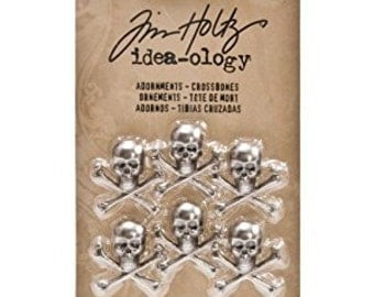 Tim Holtz Idea-ology ADORNMENTS - CROSSBONES metal embellishments Halloween cc1x