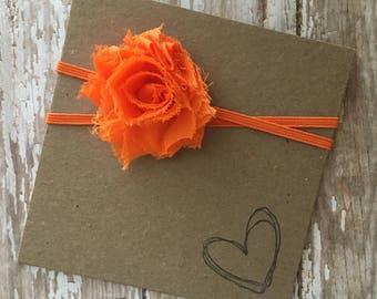 Bright Orange MINI Shabby Flower Headband