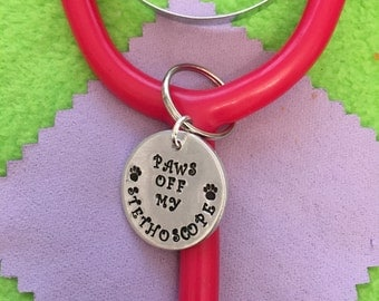 Personalised Hand Stamped Stethoscope Charm/Tag gift for a nurse, vet nurse, doctor, midwife. VN, RGN, veterinary.