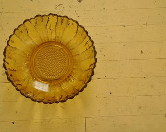 Sunflower Amber Glass Dish/ Bowl