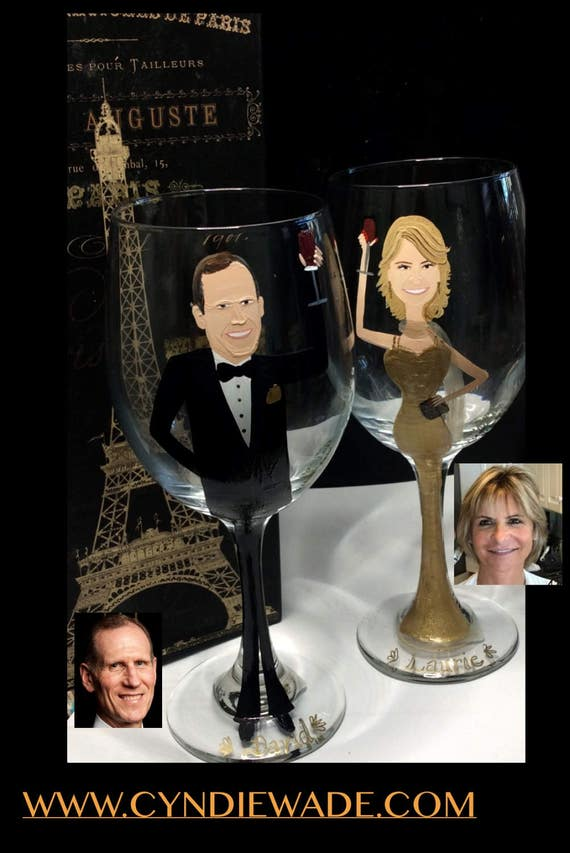 Hand Painted Portrait Wine Glass