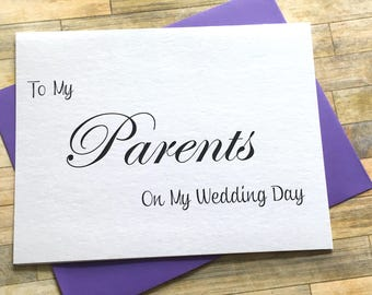 To My Parents on My Wedding Day Thank You Card, Wedding Day Card, Parents, Mom and Dad Card, Wedding, Thank You Mom and Dad - SHIMMER