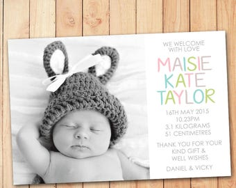Drops of Colour Announcement Card - Baby Girl Thank You Card