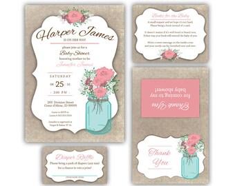 Floral Mason Jar Baby Girl Baby Shower Invitation Bundle