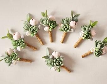Bouton de fleur à la boutonnière palefreniers trou rustique première boutonnière mariage rustique boutonnière succulente pâte boutonnière fleurs de mariage