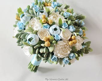 Clay wedding bouquet Keepsake Bridal bouquet Baby blue bouquet white green Succulents Bridal bouquet with gold accents Bouquet with gold