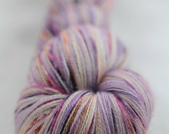 Hand-dyed yarn - superwash merino - lace - speckles - LILA