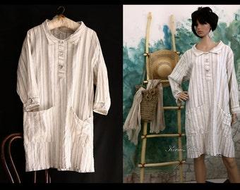 Maya - Handmade Linen Dress Made from European stripes Linen Lagenlook Plus Size