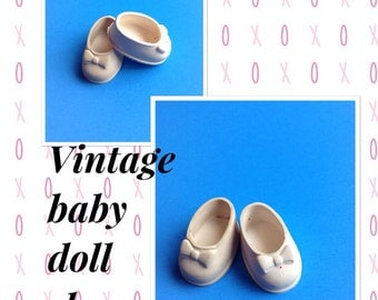 Vintage white small doll shoes